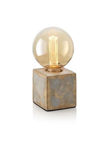 Auraglow Mysa modern modern gebronsd effect steen cement kubus nachtkastje bureau tafellamp/licht