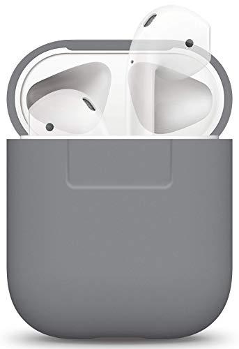 elago Silikonhülle Kompatibel mit Apple AirPods 1 und 2 (LED an der Frontseite Nicht Sichtbar) - [Unterstützt kabelloses Laden] [Stoßfeste Schutzhülle] [Ideal Passt Hülle] - Grau