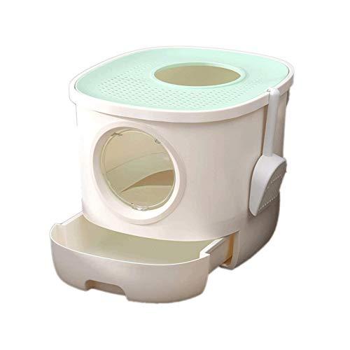 Bdesign Caja de Arena de Gato de Tipo cajón Grande, Inodoro Cerrado de Gato, diseño de cajones de Desodorante Grande y Salpicaduras con Cucharada de Arena de Gato Gratis (Color : Green)