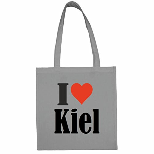 Tasche I Love Kiel Größe 38x42 Farbe Grau Druck Schwarz