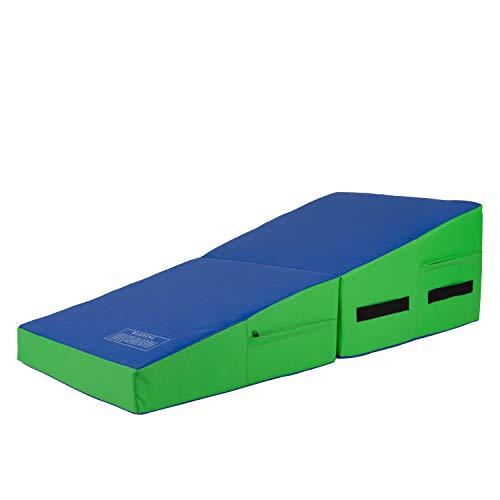 Polar Aurora Incline Gymnastics Mat Wedge 48'' Folding Gymnastics Gym Fitness Skill Shape Tumbling Mat for Kids Play Home Exercise Aerobics (Blue/Green)