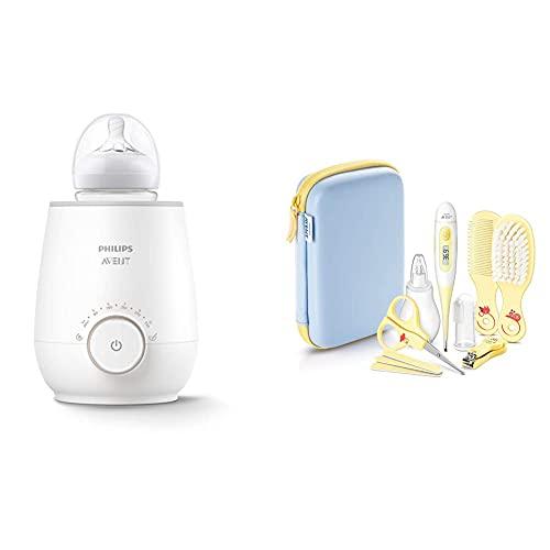Philips AVENT SCF358/00 Flaschenwärmer für schnelles und gleichmäßiges Erwärmen von Milch & Babynahrung, weiß & Babypflege-Set SCH400/00, 10 Teile, für zu Hause und unterwegs, gelb