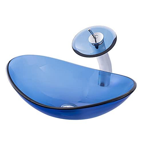 Lavabo sobre Encimera Vidrio Templado Color Sólido, Lavamanos Baño Azul para Guardarropa, Fregadero Artístico con Anillo Montaje Grifo Cascada Y Juego DREN(Color:Oval Vanity Basin Set 540X360X160mm)