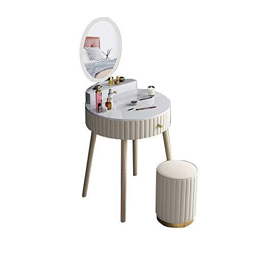 CCAN Juego de tocador de mesa de sofá de entrada con espejo LED, tocador de maquillaje, escritorio con 2 cajones para joyería, organizadores de taburetes acolchados, fácil montaje, gris, verde oscuro,