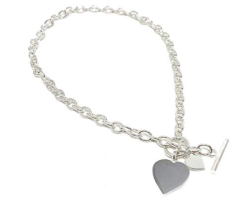 Sterlingsilber Halskette mit Doppelherz Tag mit Stangen und Ring (Knebel) Verschluss