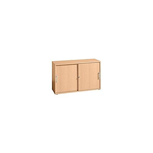 Hammerbacher FINO Schiebetürenschrank - je 1 Fachboden, 1 Trennwand, HxBxT 748 x 1200 x 400 mm - Buche-Dekor - Aktenschrank Büroschrank FINO FINO Büromöbelprogramm Schiebetürschrank Schrankwand VENTO