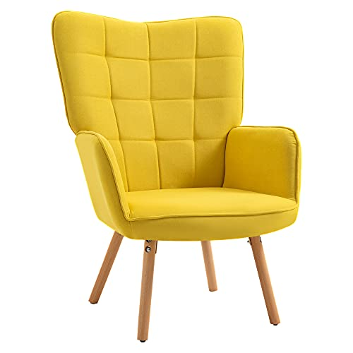 HOMCOM Modern Accent Chair Velvet-Touch Tufted Wingback Armchair Upholstered Leisure Lounge Sofa Club Chair with Wood Legs, Yellow