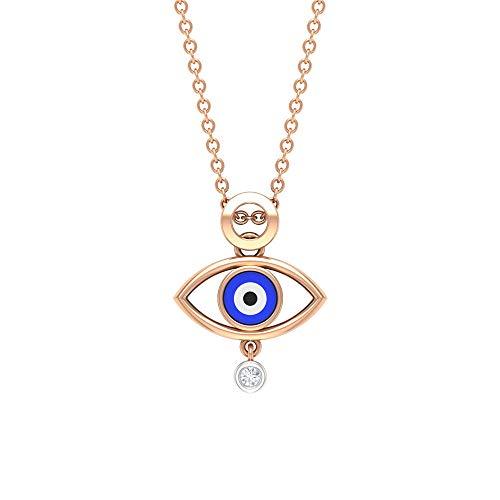 Collar con colgante de ojo malvado, colgante de ojo esmaltado, joyería de diamante HI-SI, collar con colgante simple