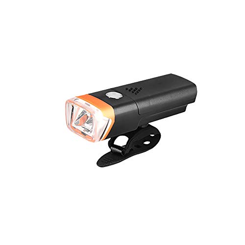 Luz de bicicleta recargable por USB, 300 lúmenes, luz antideslumbrante, color naranja