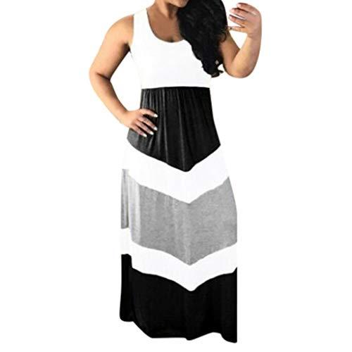 LEEDY Vestido De Talle Alto con Adelgazamiento De Color Casual A Rayas para Mujer Verano