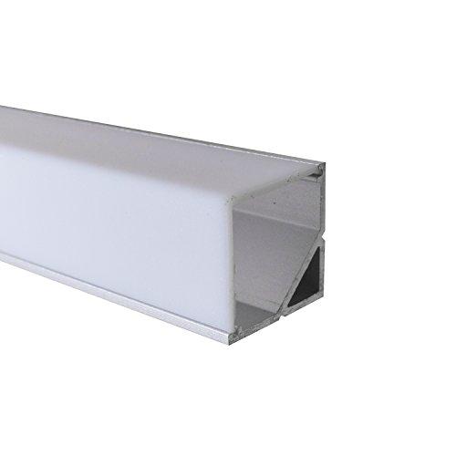OPAL - 200 cm LED Aluminium Leisten ECKE-90 + 200 cm weiß milchige Abdeckung für LED-Streifen von Alumino®