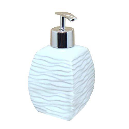 Vintage Cerámica Dispensador De Jabón Para Cocina De Baño,Diseño Simple Relieve Blanco Porcelana Wave Hotel Decoracion,Botella Vacía De Líquido Desinfectante Para Manos Jabonera Botella De Loc