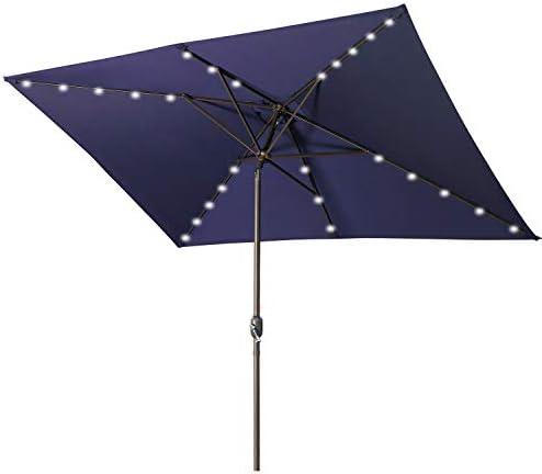 Aok Garden Rectangular Patio Umbrella with Solar Lights 6 5x10FT 30 LED light with Push Button product image