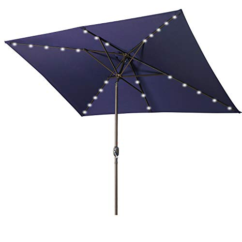 Aok Garden Rectangular Patio Umbrella with Solar Lights 6.5x10FT, 30 LED light with Push Button Tilt and Crank for Market Deck Table, 6 Sturdy Ribs Non-Fading Sunshade, Navy Blue