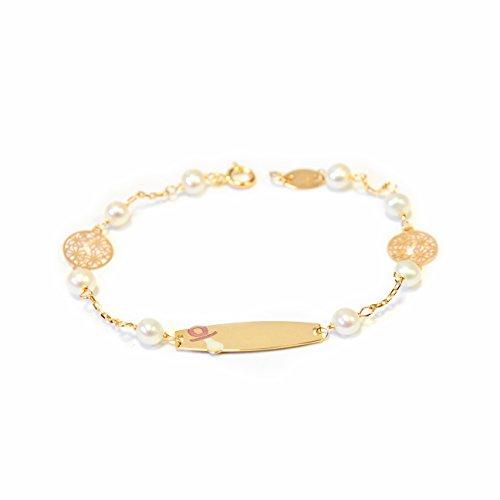 Monde Petit G1228PU - Pulsera Bebe Oro 18 Kts. chapa chupe con perlas