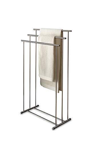 PHOS Edelstahl Design, HTB3, Handtuchständer freistehend mit 3 Querstangen aus Edelstahl matt geschliffen, Handtuchhalter stehend, ohne Bohren, Badezimmer, Handtuchhaken, Edelstahlhalter