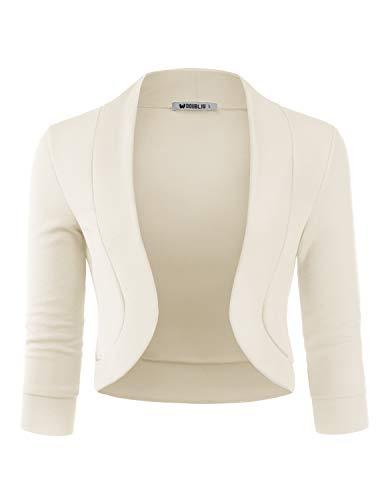Doublju Womens 3/4 Sleeve Bolero Open Front Cardigan with Plus Size Ivory Small