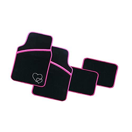 Enerfero Alfombra Coche 4 Unidades ,Alfombrillas universales para vehículos , Almohadilla para los pies con Costura, Costuras en Color Rosa con Dibujo de Corazon.