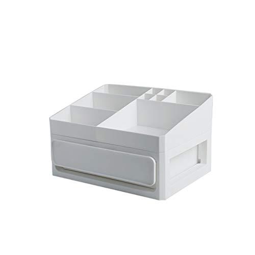 En plastique cosmétique tiroir maquillage organisateur boîte de rangement de maquillage conteneur porte-ongles cas de stockage de bureau (Color : White, Taille : Small)