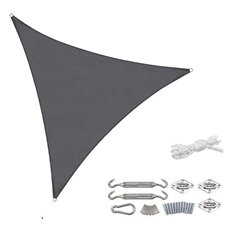 Sekey Sonnensegel Sonnenschutz Dreieckiges Polyester Windschutz Wetterschutz Wasserabweisend Imprägniert 95% UV Schutz, für Outdoor Garten mit Seilen und Befestigungs Kit, Anthrazit 3×3×3m mit kit
