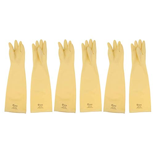 Tubayia 3 Paar Gummi Arbeitshandschuhe Schutzhandschuhe Lange Gummihandschuhe Chemikalienschutz Handschuhe