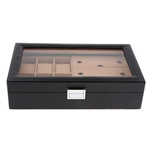 Colcolo Caja Organizadora de Cristal con Tapa Transparente de 9 Agujeros con Pantalla de Reloj de PU Grande para Gafas - Caqui Negro, Individual