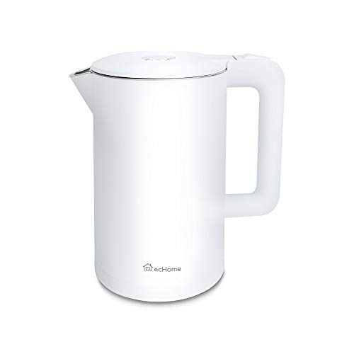 ecHome 1.7L Powerful 1800W Stainless Steel Double Wall Cordless Electric Kettle