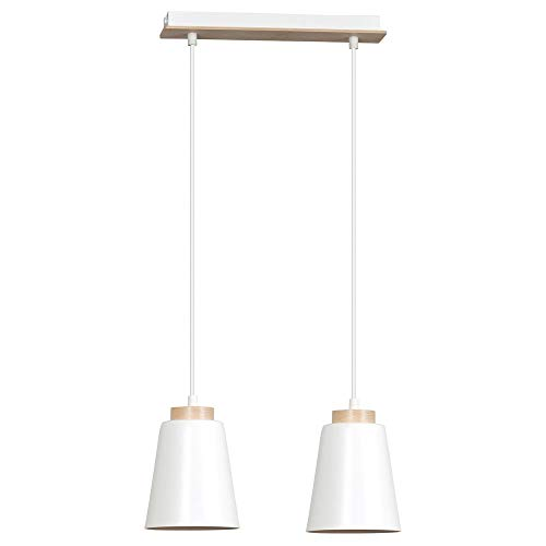 famlights Pendelleuchte Nele 2-Flammig aus Metall, Weiß | Hängelampe edel Deckenleuchte Wohnzimmer-Leuchte Flur-Lampe industriel Schlafzimmer-Leuchte schlicht Deckenbeleuchtung retro Zimmerlampe E27