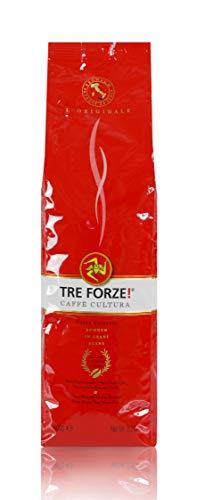 TRE FORZE! Espresso Caffè - Bohnen 1kg - Traditionelles Rösten über Olivenholzfeuer In Handarbeit - Premium Kaffeebohnen für Vollautomat und Siebträger