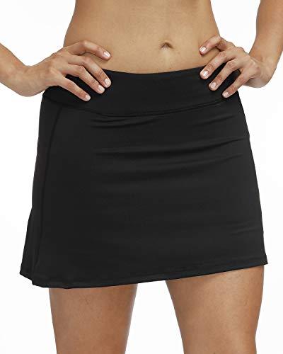 3AXE Women's Tennis Skorts with Inner Shorts Pockets Lightweight Active Skirts for Golf Sports Running Dress Black Large