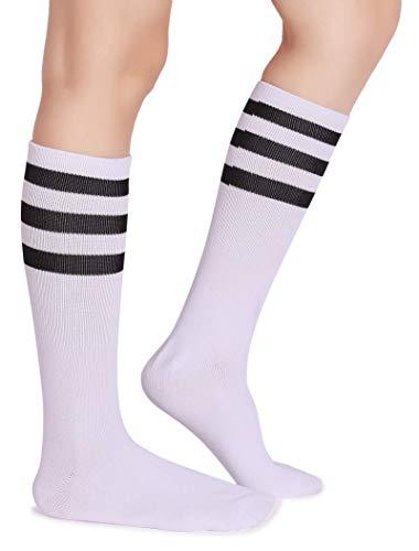 Pareberry Classic Triple Stripes Soft Cotton On the Calf Retro White Tube Socks (A-pair(White/Black))