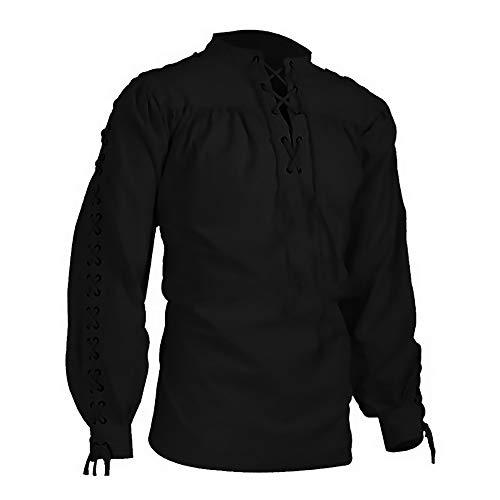 LASPERAL Mittelalter Hemd Barock Herrenhemd Mittelalterliche Kleidung Herren Vampir Gewandung Edelmann Kostüm Renaissance Cosplay Gothic Victorian Rüschenhemd (XL, Y-Schwarz)