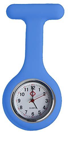 Krankenschwester Schwesternuhr Taschenuhr Kitteluhr Pulsuhr Pflege Nurse Watch Doctor (Hell Blau)