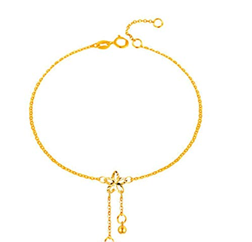 KnSam 18K Oro Amarillo Tobilleras, Ajorca para el Tobillo Flores de Cerezo, Color Oro, Amarillo Oro