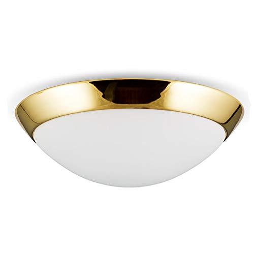Helios Leuchten 146602 klassische Deckenleuchte Deckenlampe Bauhaus - Stil | moderne Lampe Leuchte echt Messing poliert | Deckenbeleuchtung Opal - Glas weiss | 1 x E27