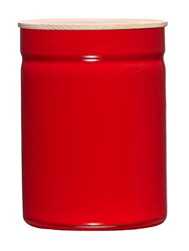 Riess, 2175-213, Vorratsdose mit D.13cm, 2.25L, TRUEHOMEWARE - Kitchen-Management, Höhe 18 cm, Fresh Tomato, Emaille, rot, Gewicht 0,75kg, Durchmesser 13 cm, Inhalt 2,25 Liter