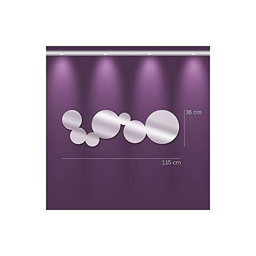 Trend spiegel m0031 spiegel blazen langwerpige PU zilver 115,0 x 36,0 x 0,3 cm