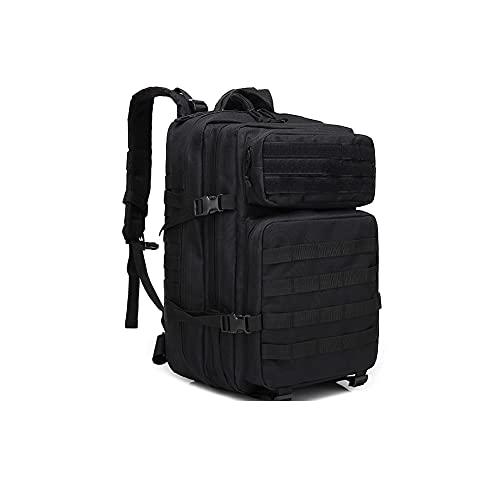 45L Militär Rucksäcke Taktische Rucksack, Assault Rucksack, für Outdoor Camping, Wandern, Jagd, Trekking, Reisen (Schwarz)