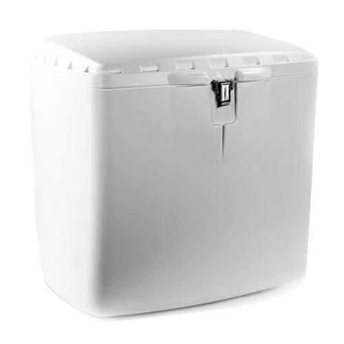 GRAN SCOOTER Baúl Trasero Mega Box Con Cerradura (Capacidad 100 litros, Material Polipropileno, Cierre Con Llave, Perfecto Para Reparto A Domicilio) - Blanco