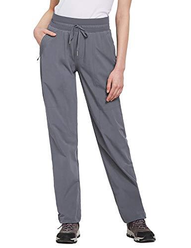 BALEAF Women's Hiking Pants Capris Elastic Waist Lightweight UPF 50+ Quick Dry with Zipper Pockets Fishing Camping Jogging Gray L