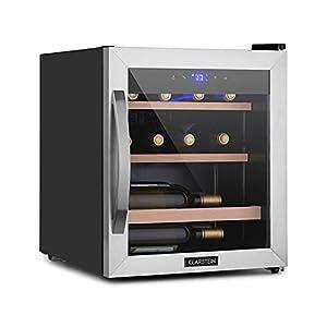 KLARSTEIN Vinamour Uno - cave à vin, panneau de commande tactile, luxueuse porte en verre de sécurité avec cadre en inox, 12 bouteilles / 46 l, une zone réfrigérée: 4-18 °C, 40 dB - noir