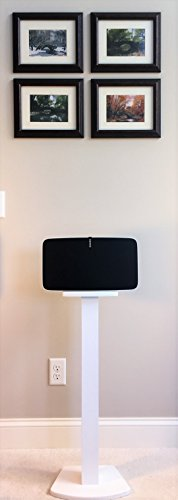 Beautiful Wood Speaker Stand Handcrafted Compatible for SONOS Play 5 and SONOS Five. Made in U.S.A. Single Stand. White.