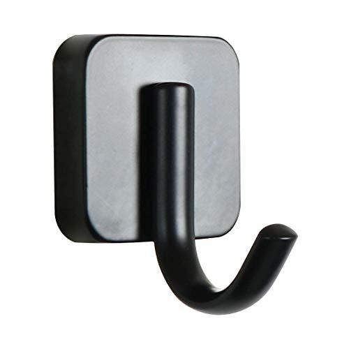 YeVhear - Toallero de acero inoxidable con percha de almacenamiento, organizador de pared, material de baño, pintura cuadrada negra