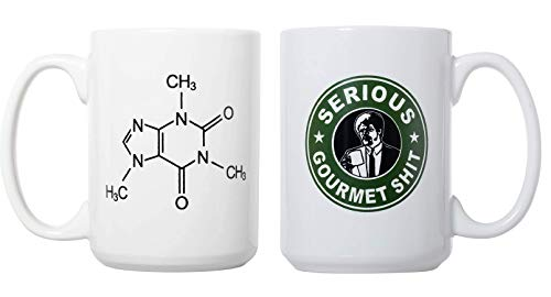 Caffeine Molecule and Goddamn, Jimmy. This Is Some Serious Gourmet Shit 15oz Deluxe Double-Sided Coffee Tea Mugs Set