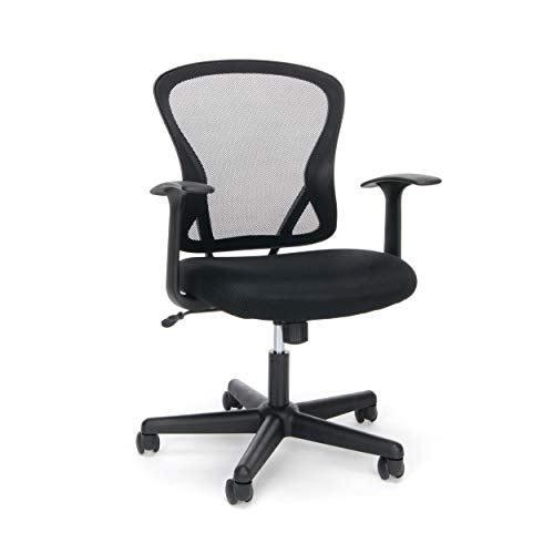 OFM ESS Collection Swivel Mesh Back Task Chair with Arms, Mid Back, in Black (ESS-3011)