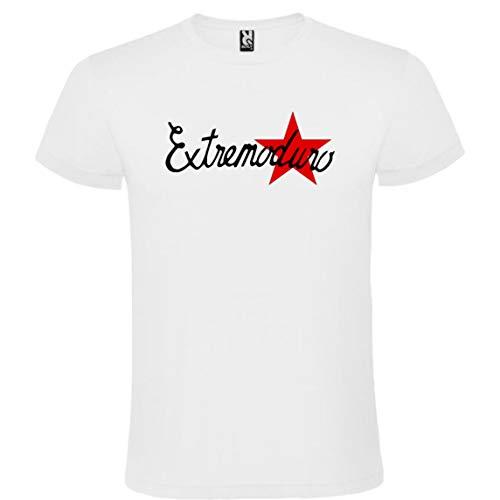 ROLY Camiseta Blanca con Logotipo de EXTREMODURO Hombre 100% Algodón Tallas S M L XL XXL Mangas Cortas (L)