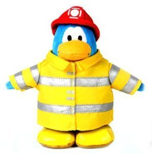 """SAVE $8.00 - VALUE DEAL on RARE Club Penguin Fireman Rescue Worker 6.5"""" Plush - VALUE DEAL = Just the Rare Fire Rescue Plush without Coin or Code"""