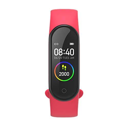 MERIGLARE Rastreador de La Aptitud de Los Deportes de La Pulsera de La Sangre del Oxígeno del Reloj Inteligente de Bluetooth 4.2 - Rojo