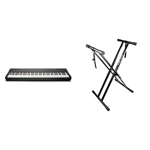 Yamaha P-125 Piano Digital Portátil Esbelto, Dinámico Y Potente + Rockjam Xfinity Doublebraced Premontado Soporte De Teclado Altamente Ajustable Con Correas De Fijación
