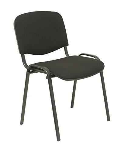 Piqueras Y Crespo 2454140031 – set met 4 ergonomische stoelen, stapelbaar, multifunctioneel, frame in zwart, zitting en rugleuning met aranstof bekleed – model Alcaraz